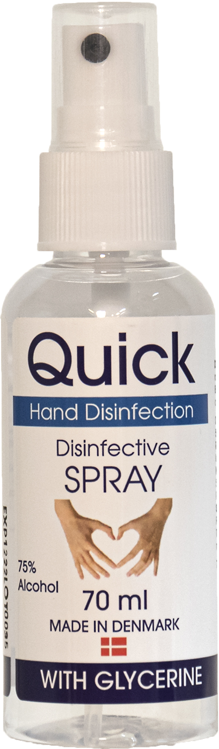 Quick Hånddesinfektion SPRAY 70 ml med 75 % Alkohol