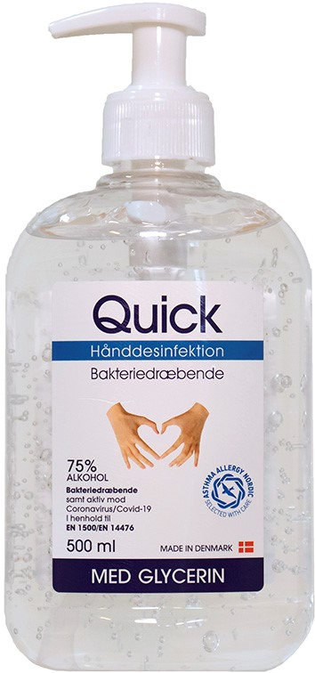 """Quick Hånddesinfektion 500 ml<img loading=""""lazy"""" src=""""/wp-content/uploads/2021/08/Asthma-Allergy-1-1.png"""" width=""""100"""" height=""""100"""" alt="""""""" class=""""wp-image-4298 alignnone size-full"""">"""